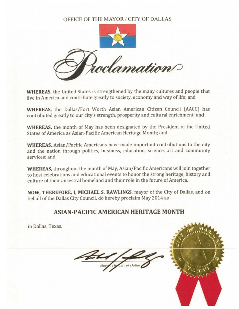 DFW AACC Proclamations_2014_Dallas