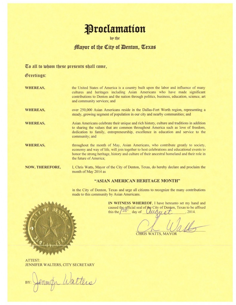 DFW AACC Proclamations_2014_Denton