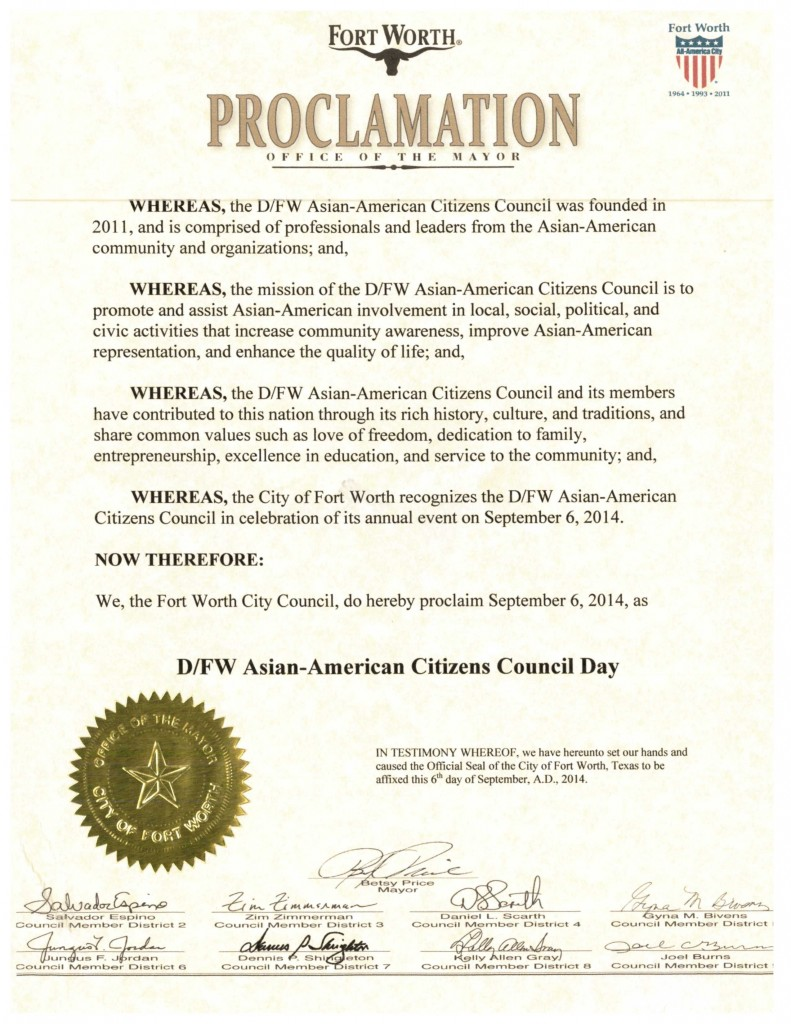 DFW AACC Proclamations_2014_Fort Worth