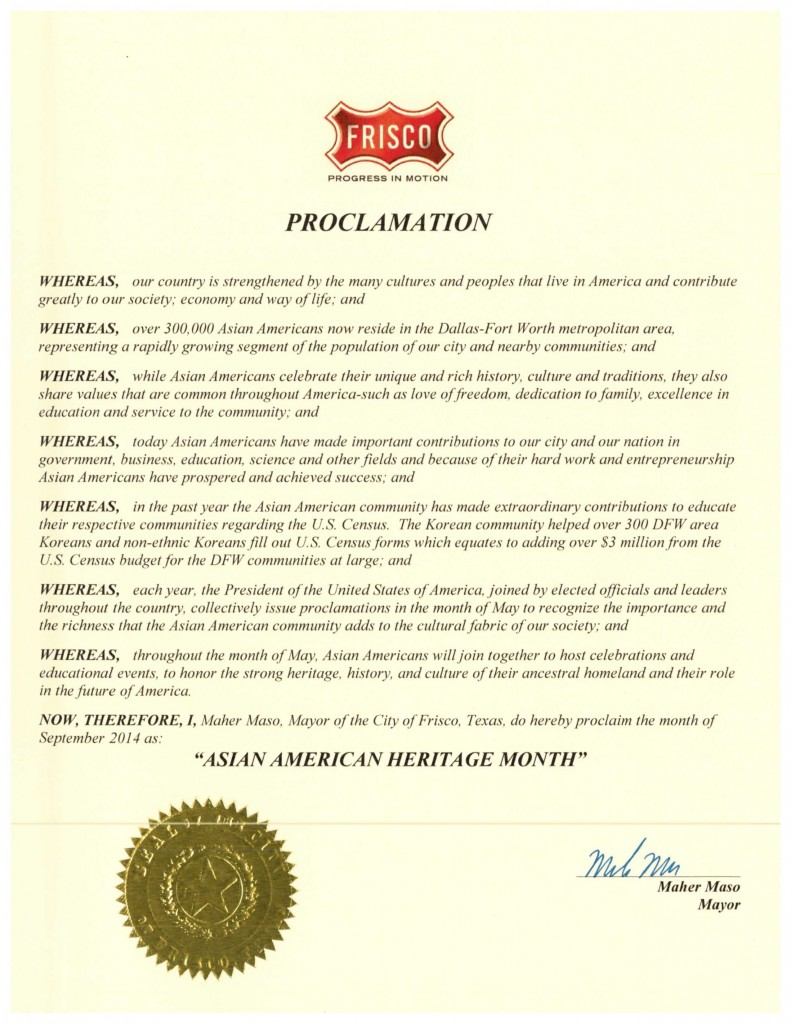 DFW AACC Proclamations_2014_Frisco