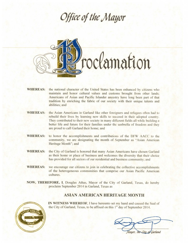DFW AACC Proclamations_2014_Garland