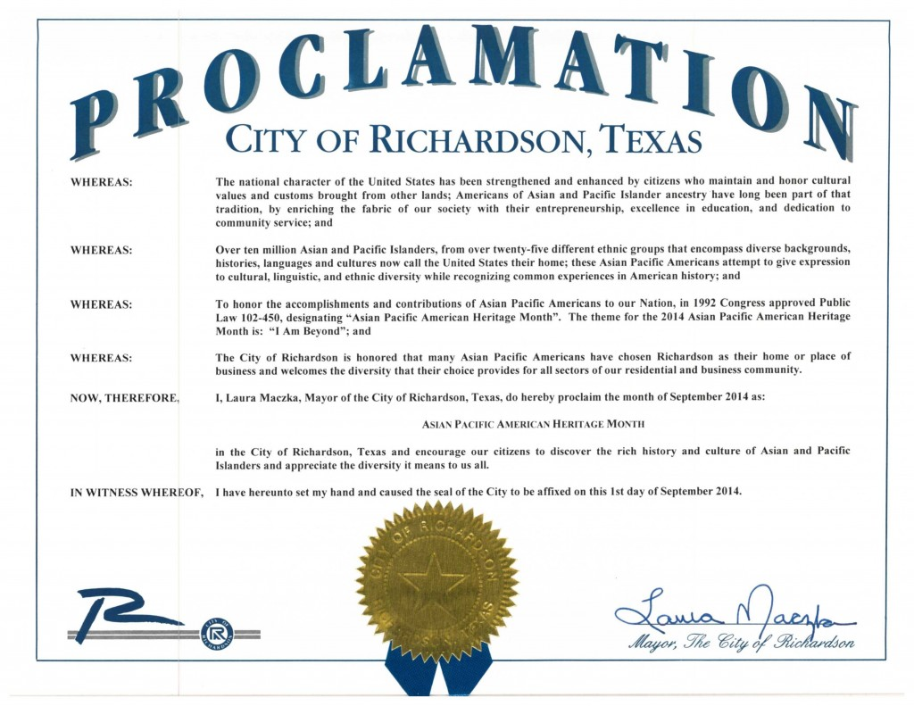 DFW AACC Proclamations_2014_Richardson