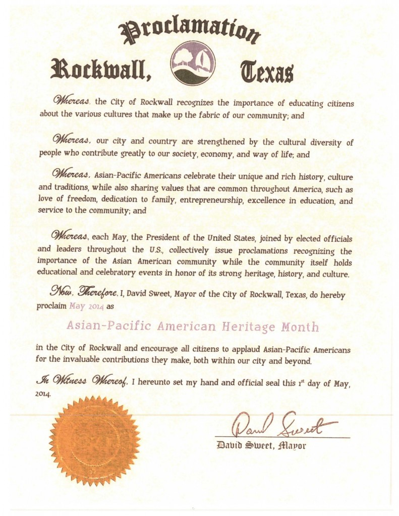 DFW AACC Proclamations_2014_Rockwall