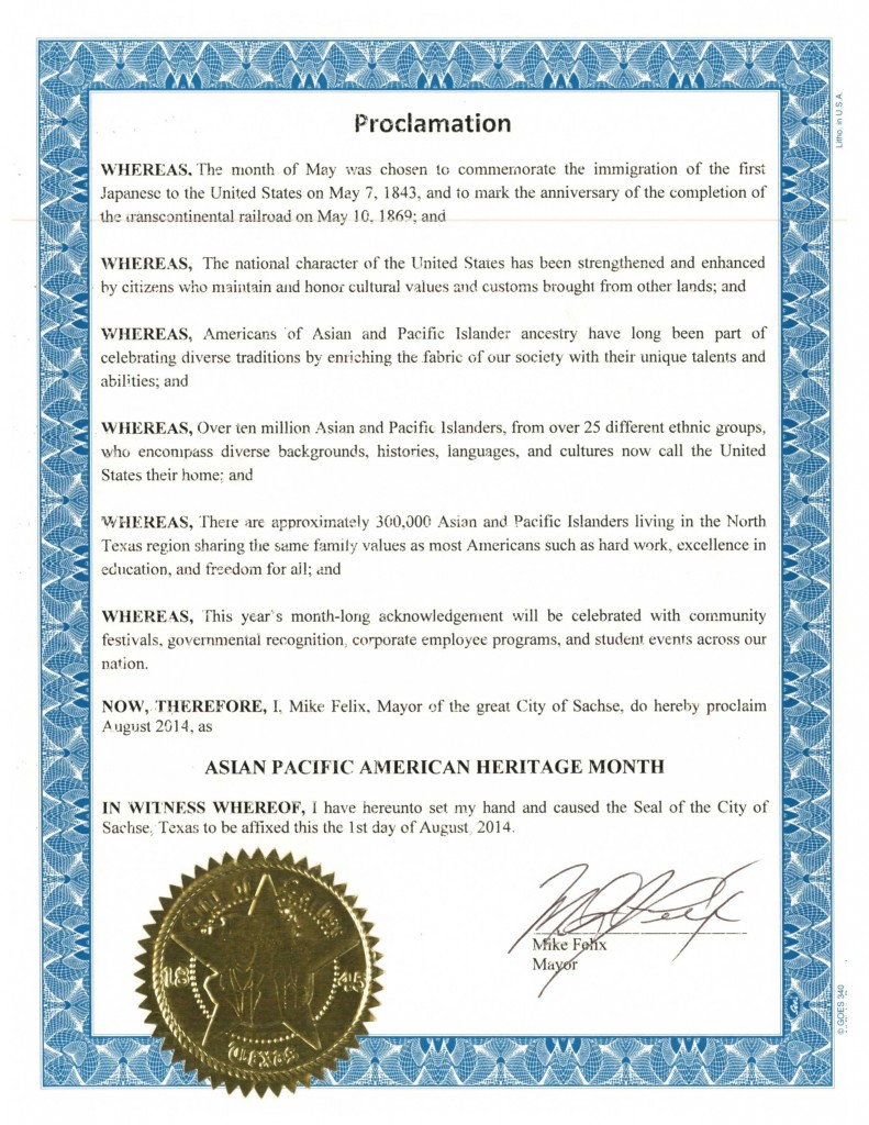 DFW AACC Proclamations_2014_Sachse